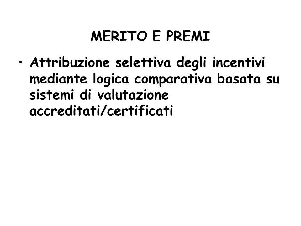 MERITO E PREMI Attribuzione selettiva degli incentivi mediante logica comparativa basata su sistemi di valutazione accreditati/certificati.