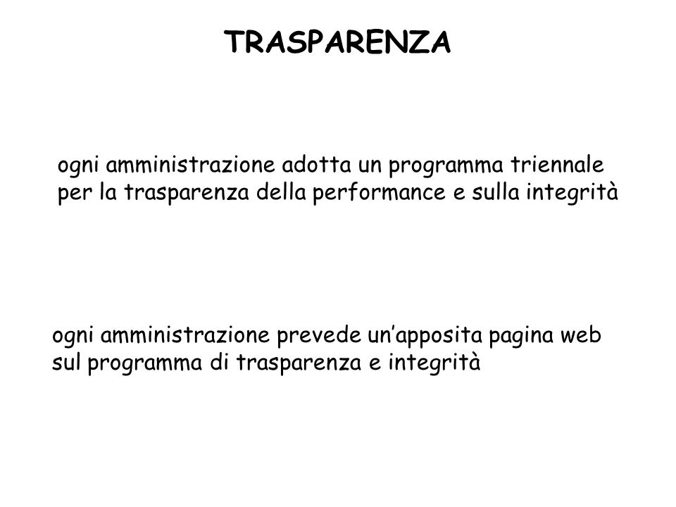 TRASPARENZAogni amministrazione adotta un programma triennale per la trasparenza della performance e sulla integrità.