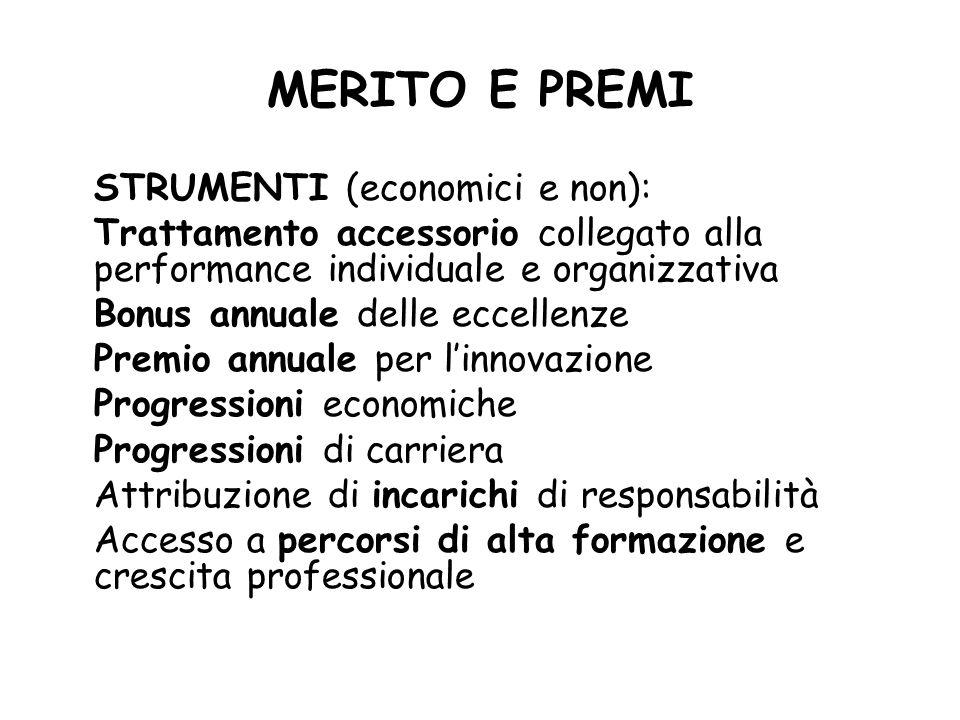 MERITO E PREMI STRUMENTI (economici e non):