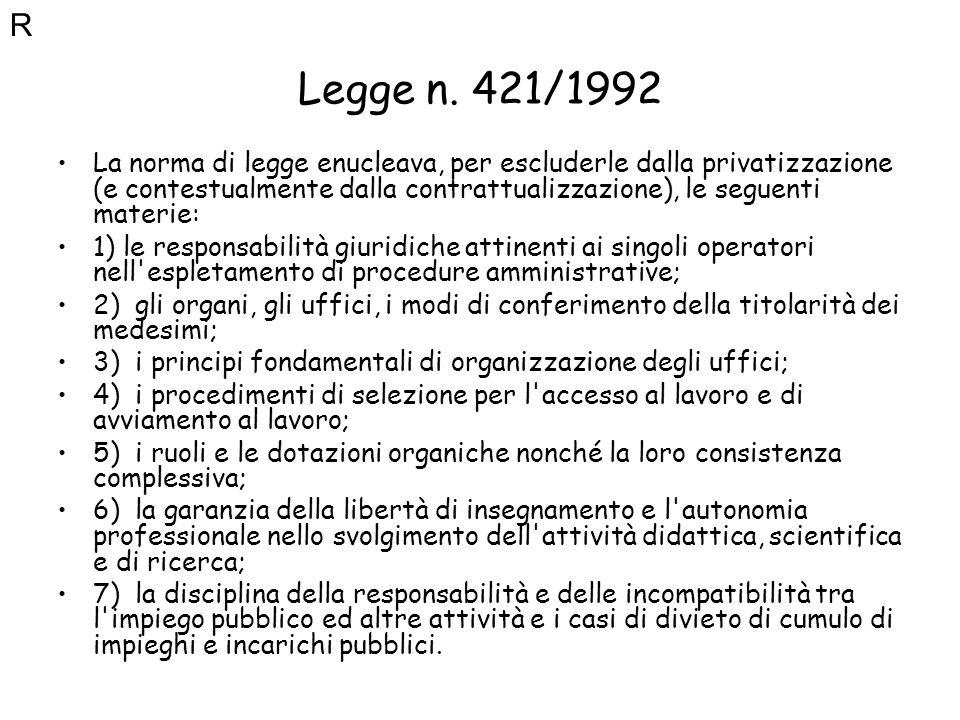 R Legge n. 421/1992.