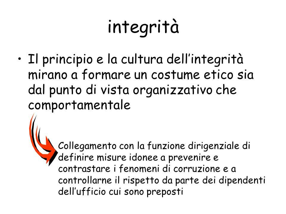 integrità Il principio e la cultura dell'integrità mirano a formare un costume etico sia dal punto di vista organizzativo che comportamentale.