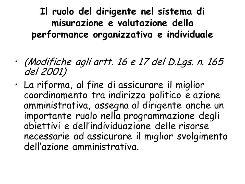 Il ruolo del dirigente nel sistema di misurazione e valutazione della performance organizzativa e individuale