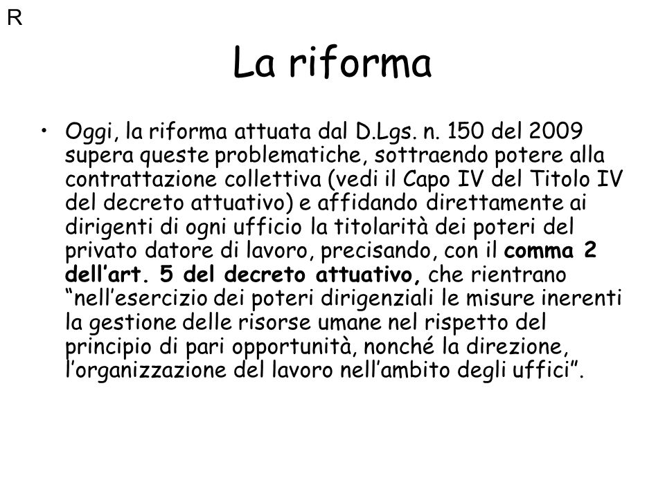 RLa riforma.