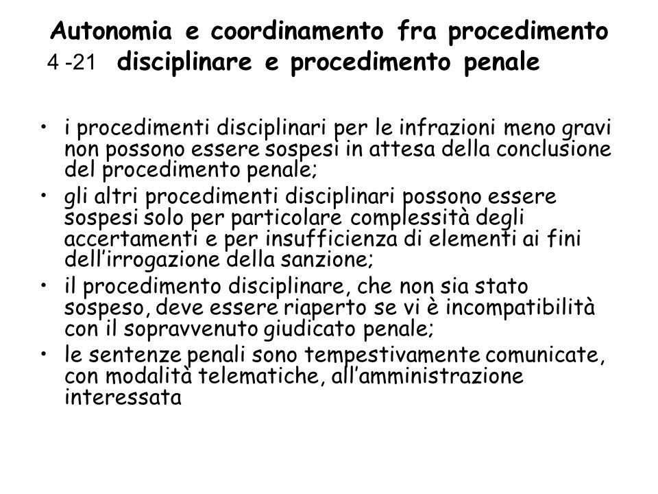 Autonomia e coordinamento fra procedimento disciplinare e procedimento penale