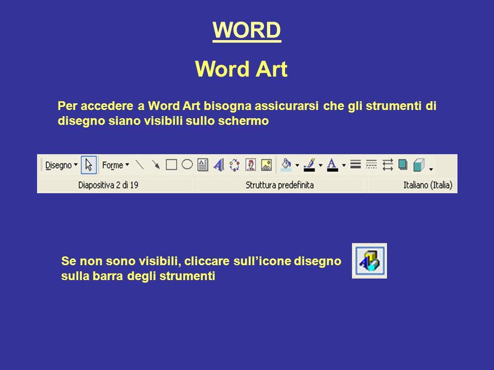 WORD Word Art. Per accedere a Word Art bisogna assicurarsi che gli strumenti di disegno siano visibili sullo schermo.