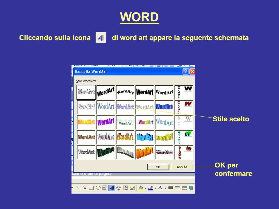 WORD Cliccando sulla icona di word art appare la seguente schermata
