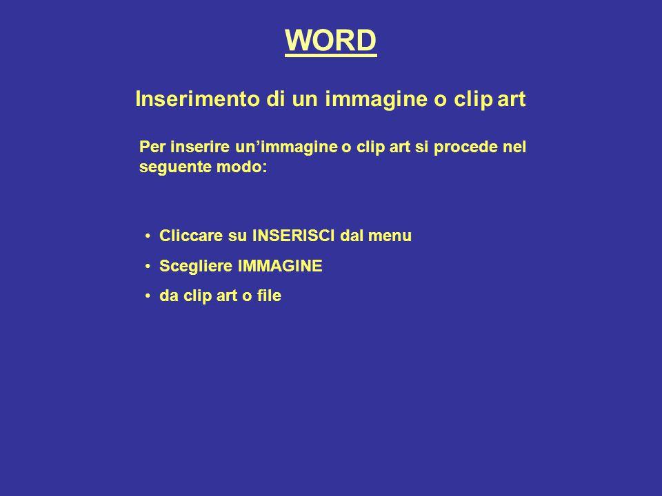 Inserimento di un immagine o clip art