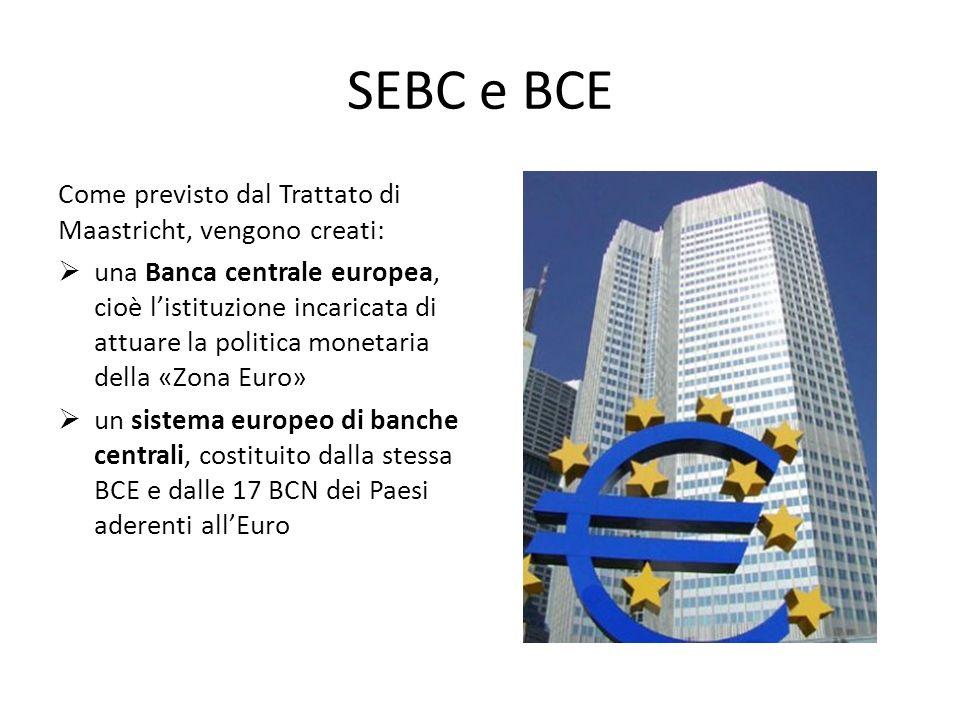SEBC e BCE Come previsto dal Trattato di Maastricht, vengono creati: