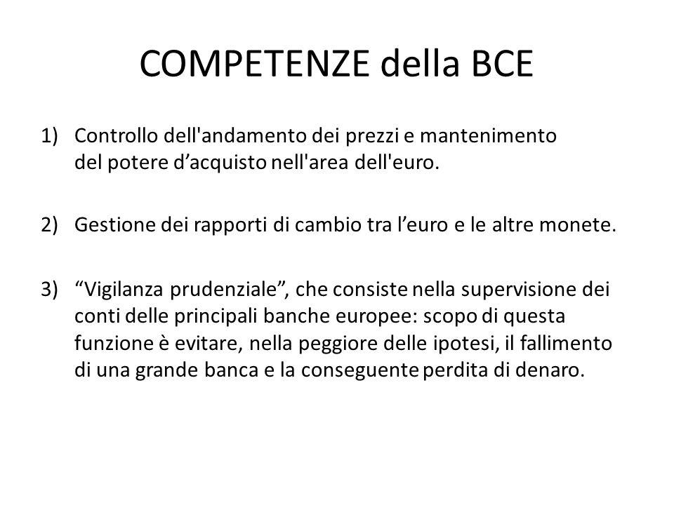 COMPETENZE della BCE Controllo dell andamento dei prezzi e mantenimento del potere d'acquisto nell area dell euro.