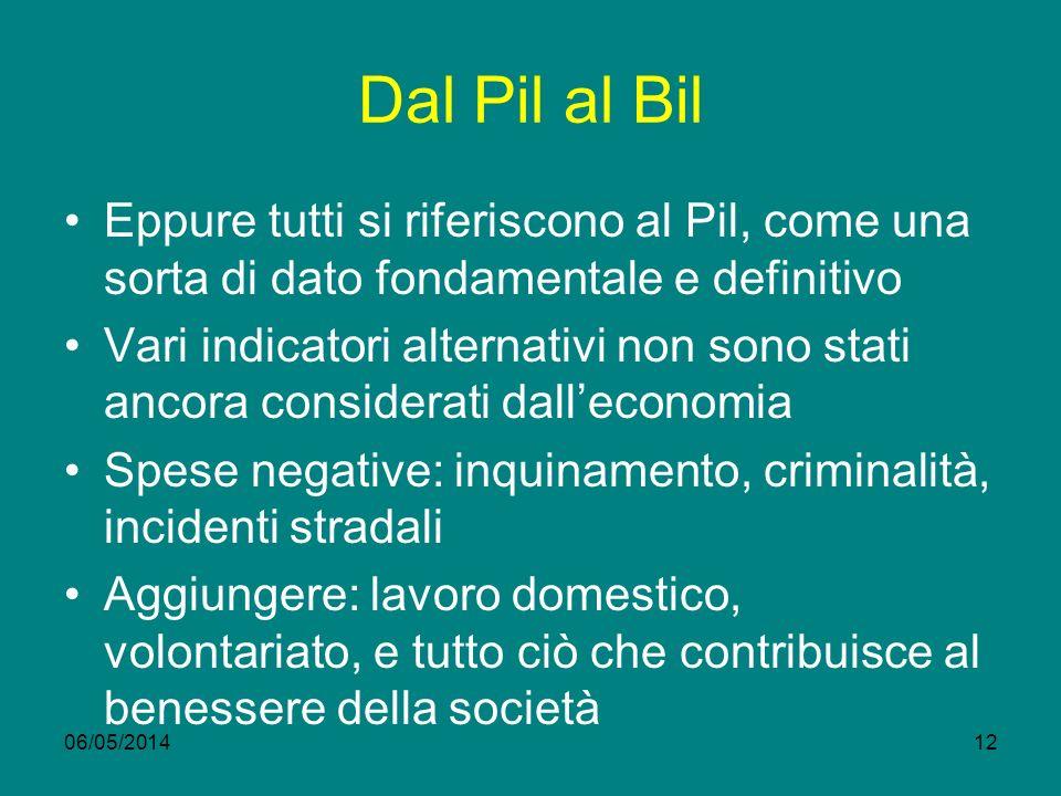 Dal Pil al Bil Eppure tutti si riferiscono al Pil, come una sorta di dato fondamentale e definitivo.