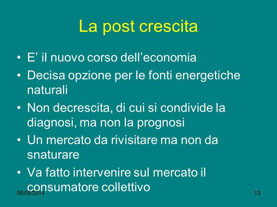 La post crescita E' il nuovo corso dell'economia