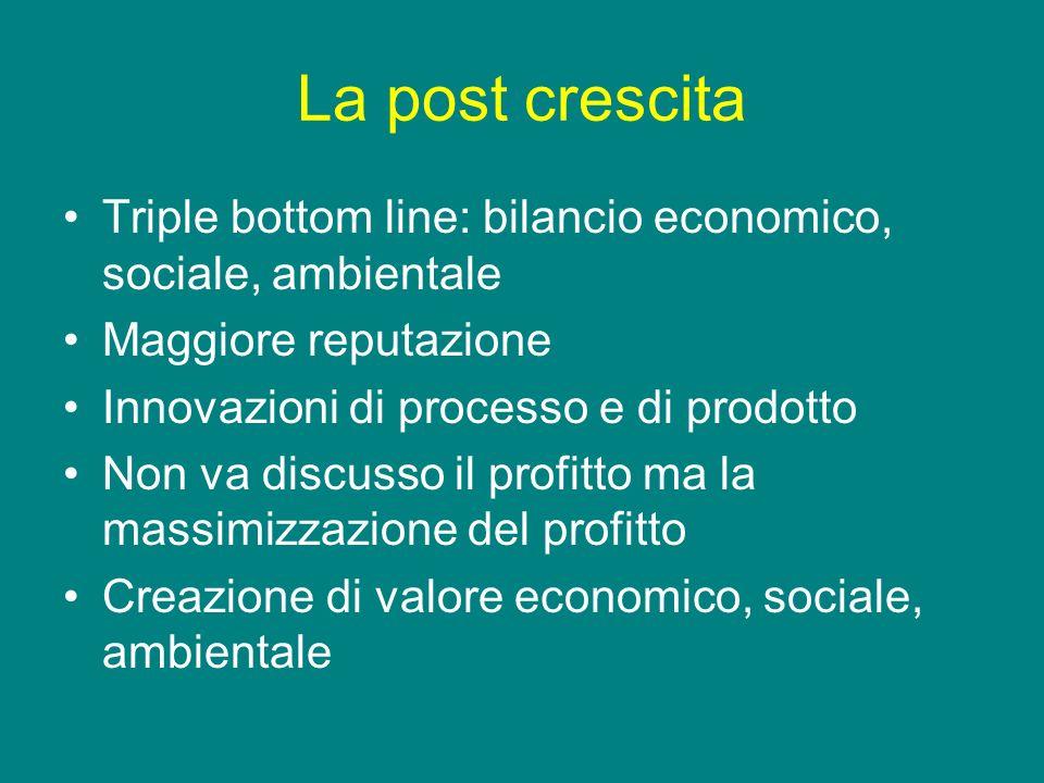 La post crescita Triple bottom line: bilancio economico, sociale, ambientale. Maggiore reputazione.