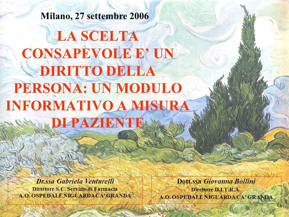Milano, 27 settembre 2006 LA SCELTA CONSAPEVOLE E' UN DIRITTO DELLA PERSONA: UN MODULO INFORMATIVO A MISURA DI PAZIENTE.