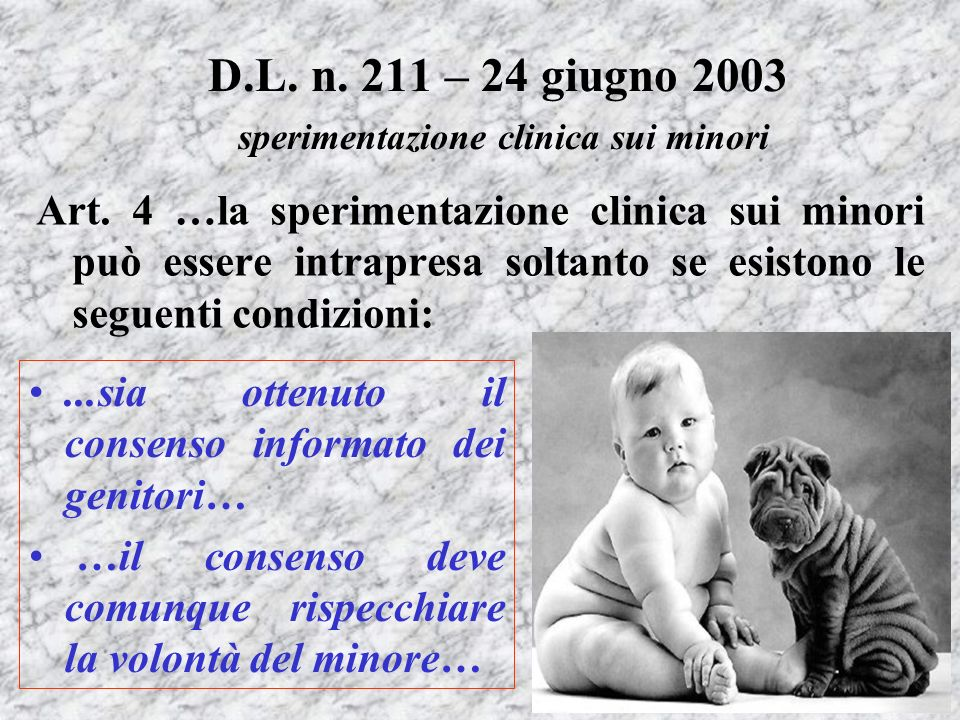 D.L. n. 211 – 24 giugno 2003 sperimentazione clinica sui minori