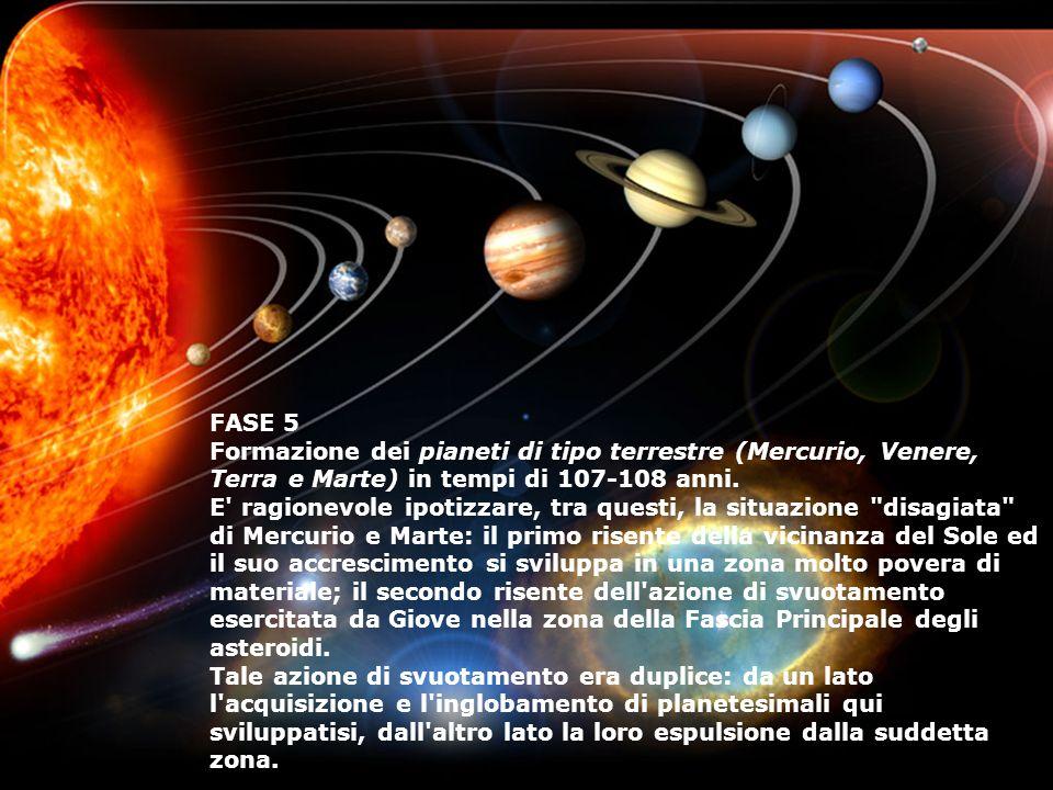 FASE 5 Formazione dei pianeti di tipo terrestre (Mercurio, Venere, Terra e Marte) in tempi di 107-108 anni.