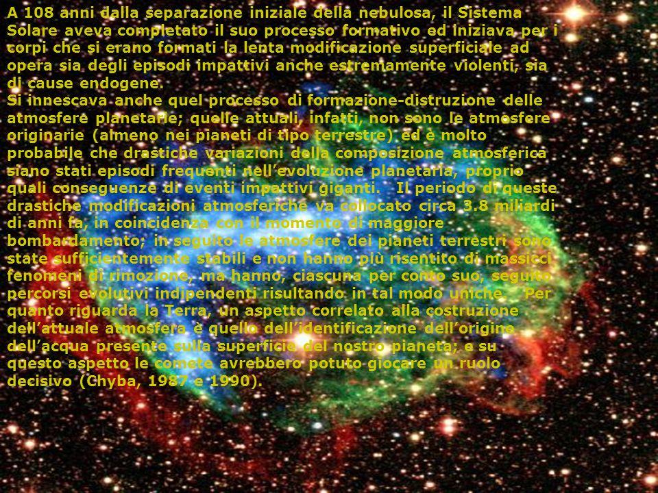A 108 anni dalla separazione iniziale della nebulosa, il Sistema Solare aveva completato il suo processo formativo ed iniziava per i corpi che si erano formati la lenta modificazione superficiale ad opera sia degli episodi impattivi anche estremamente violenti, sia di cause endogene.