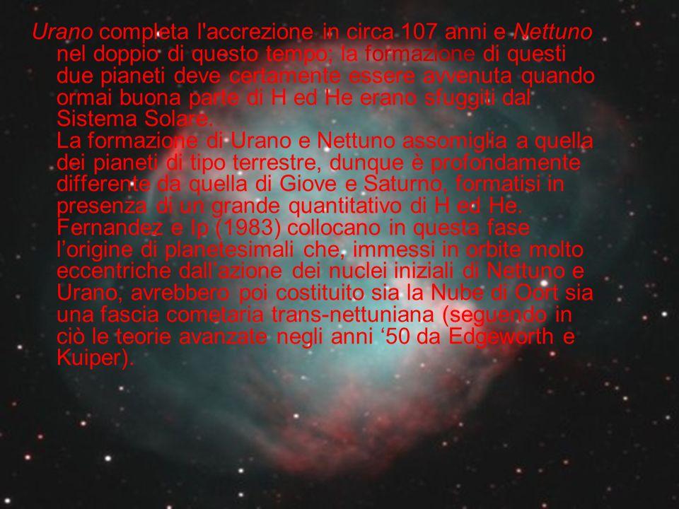 Urano completa l accrezione in circa 107 anni e Nettuno nel doppio di questo tempo; la formazione di questi due pianeti deve certamente essere avvenuta quando ormai buona parte di H ed He erano sfuggiti dal Sistema Solare.