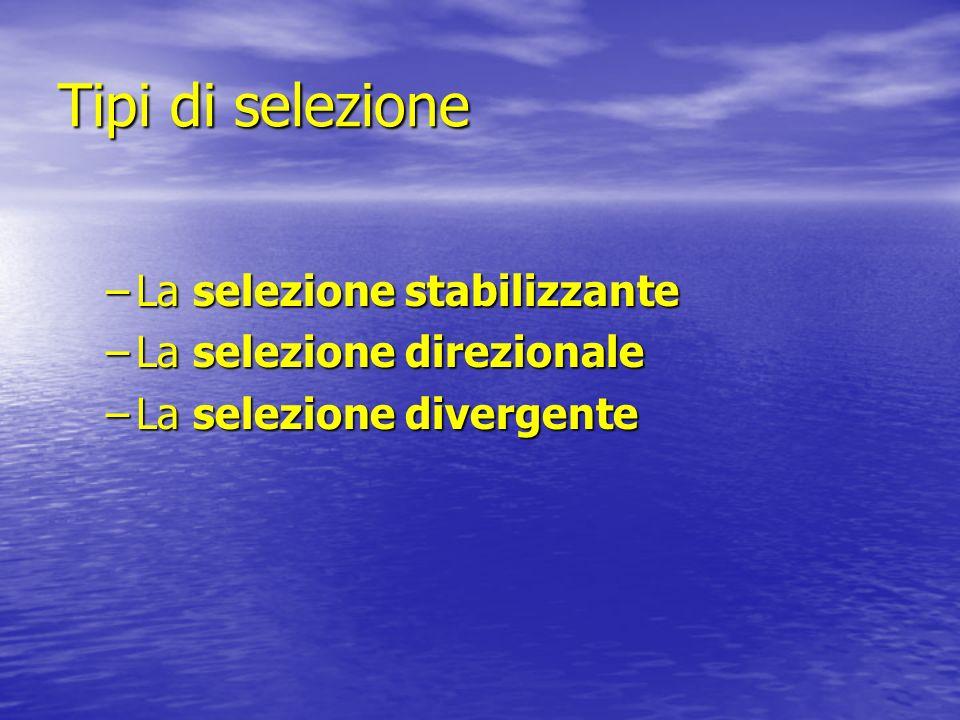 Tipi di selezione La selezione stabilizzante La selezione direzionale