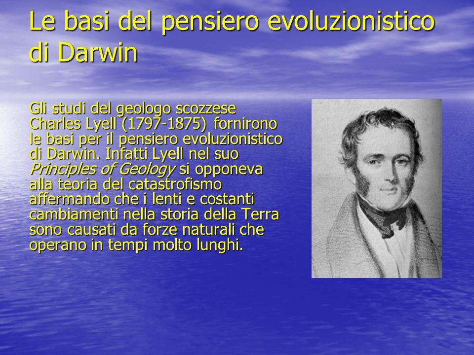 Le basi del pensiero evoluzionistico di Darwin