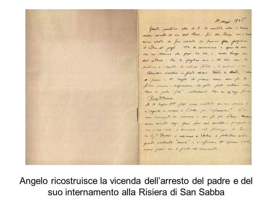 Angelo ricostruisce la vicenda dell'arresto del padre e del suo internamento alla Risiera di San Sabba