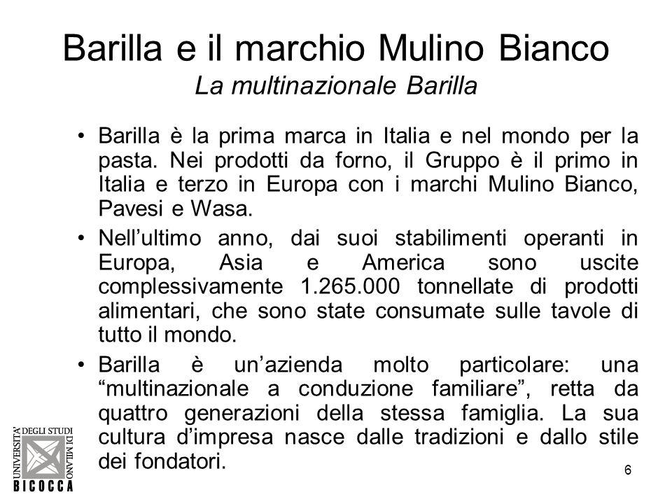 Barilla e il marchio Mulino Bianco La multinazionale Barilla