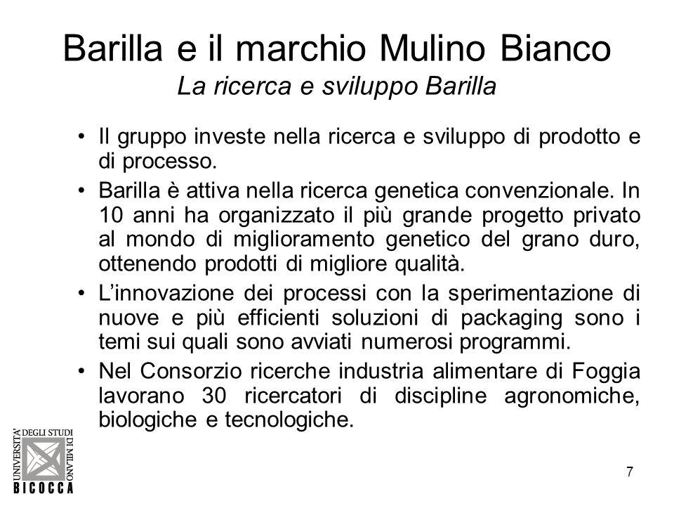 Barilla e il marchio Mulino Bianco La ricerca e sviluppo Barilla