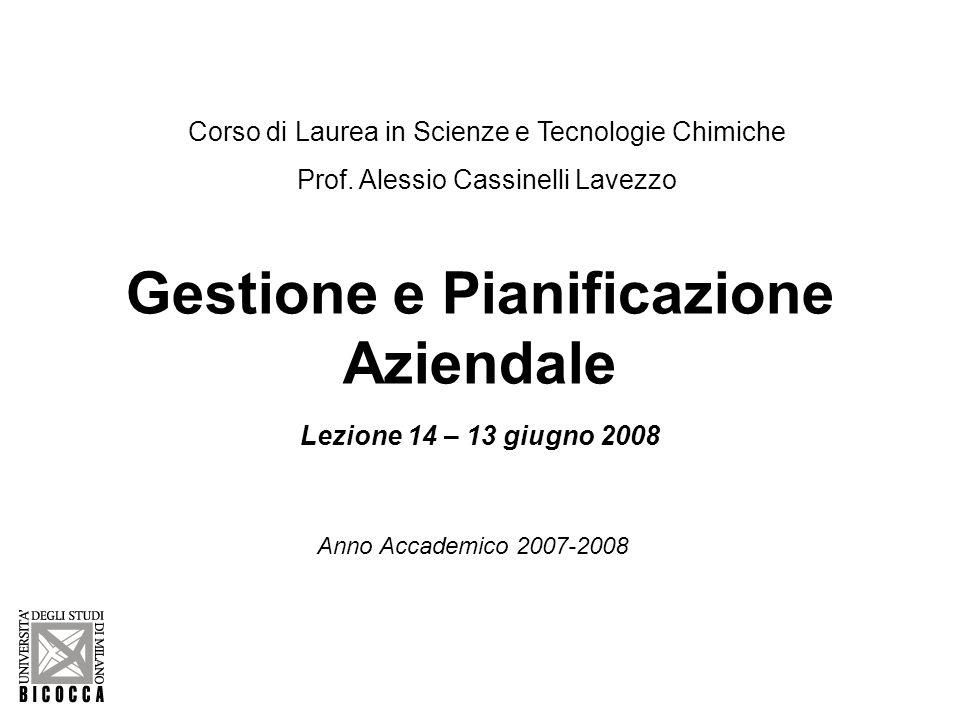 Gestione e Pianificazione Aziendale Lezione 14 – 13 giugno 2008