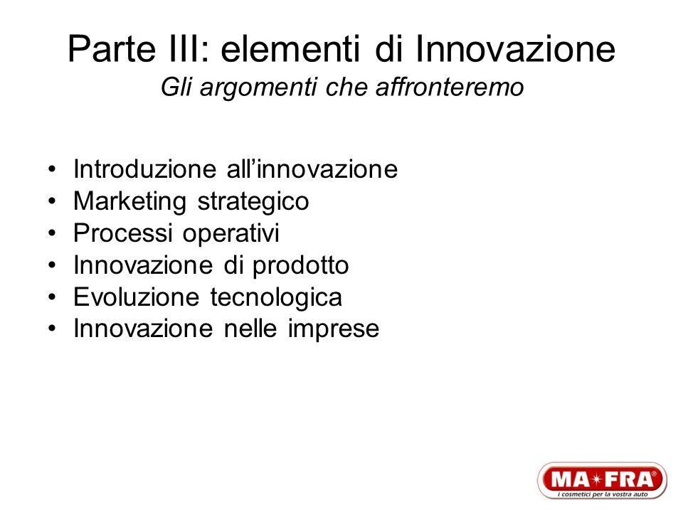 Parte III: elementi di Innovazione Gli argomenti che affronteremo