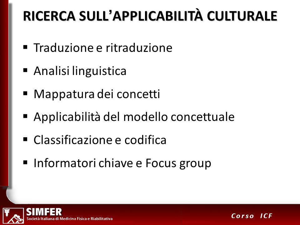 RICERCA SULL'APPLICABILITÀ CULTURALE