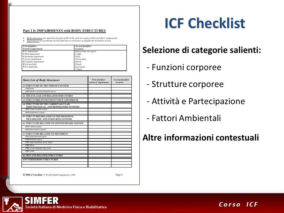 ICF Checklist Selezione di categorie salienti: - Funzioni corporee