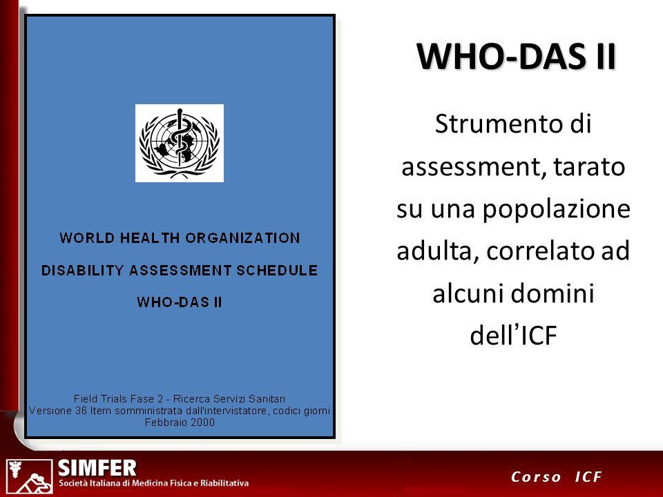 WHO-DAS IIStrumento di assessment, tarato su una popolazione adulta, correlato ad alcuni domini dell'ICF.