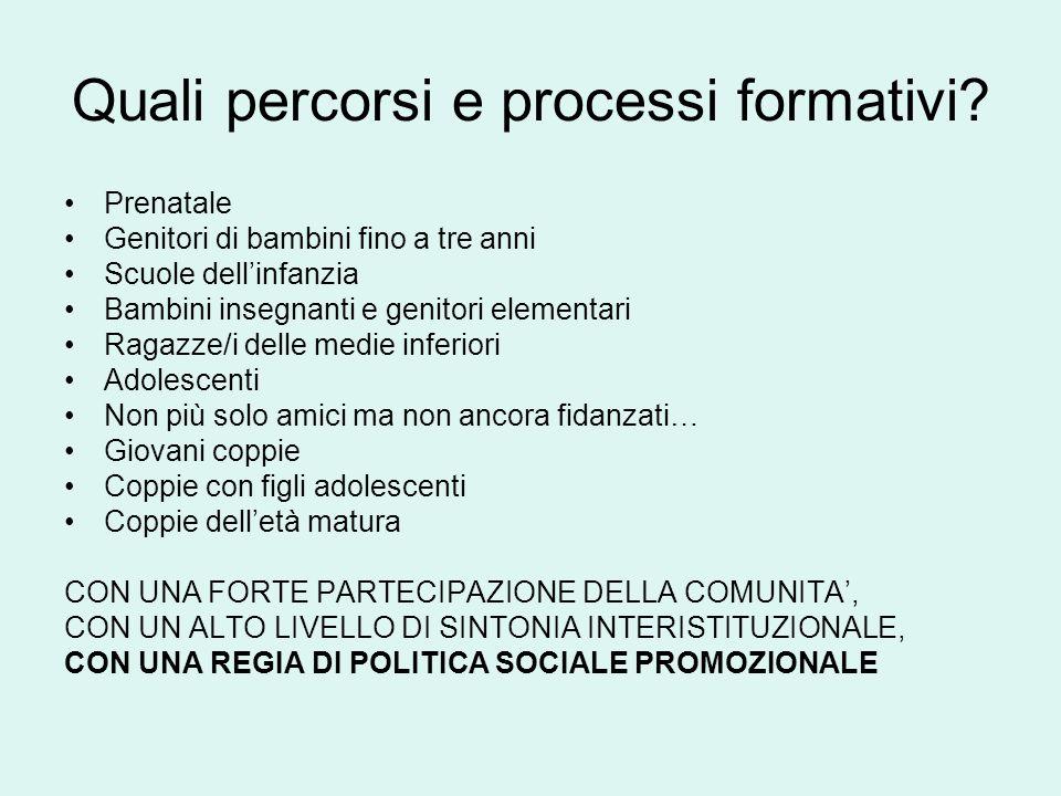 Quali percorsi e processi formativi