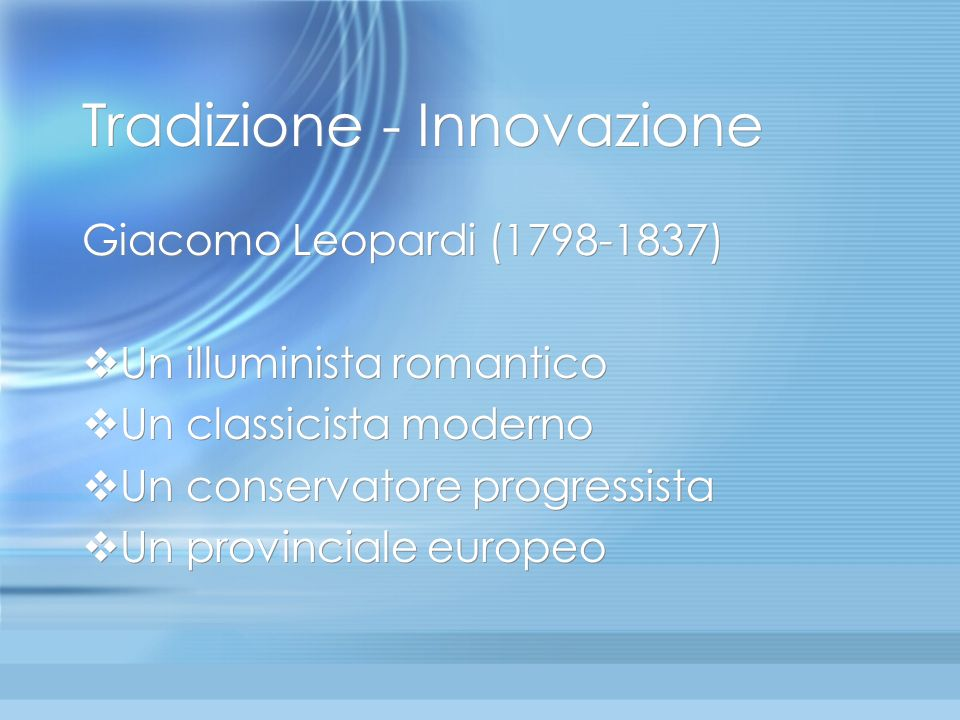 Tradizione - Innovazione