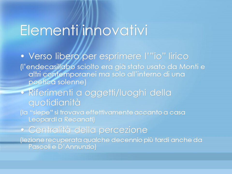 Elementi innovativi Verso libero per esprimere l' io lirico