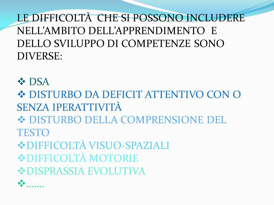 LE DIFFICOLTÀ CHE SI POSSONO INCLUDERE NELL'AMBITO DELL'APPRENDIMENTO E DELLO SVILUPPO DI COMPETENZE SONO DIVERSE: