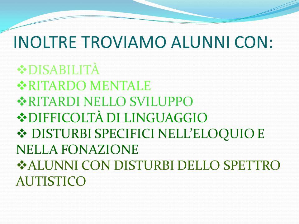 INOLTRE TROVIAMO ALUNNI CON:
