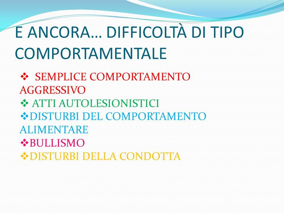 E ANCORA… DIFFICOLTÀ DI TIPO COMPORTAMENTALE
