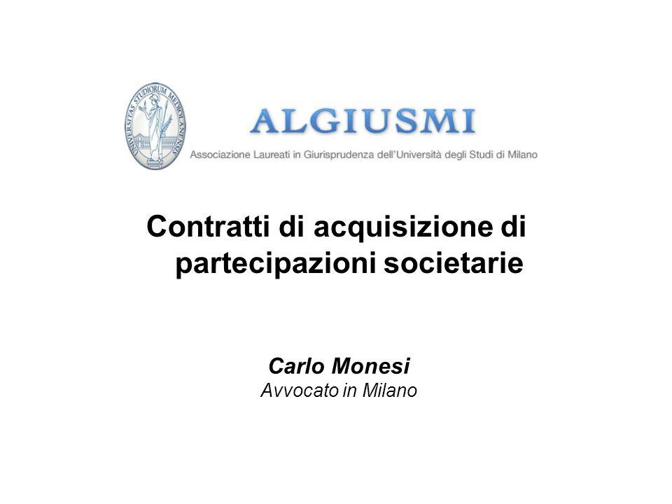 Contratti di acquisizione di partecipazioni societarie