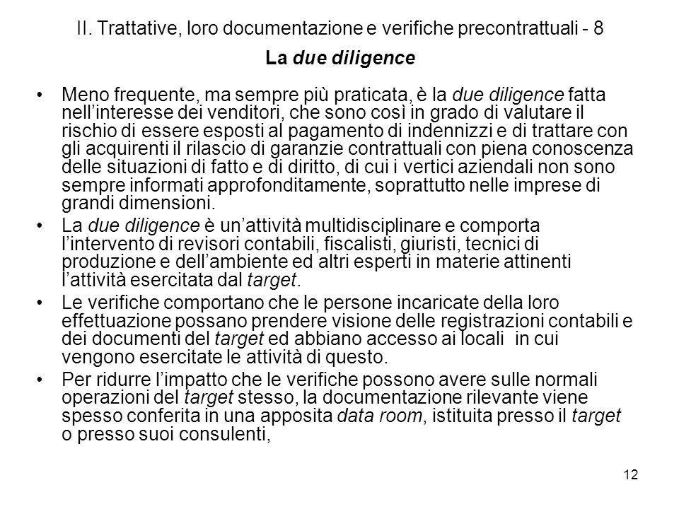 II. Trattative, loro documentazione e verifiche precontrattuali - 8 La due diligence
