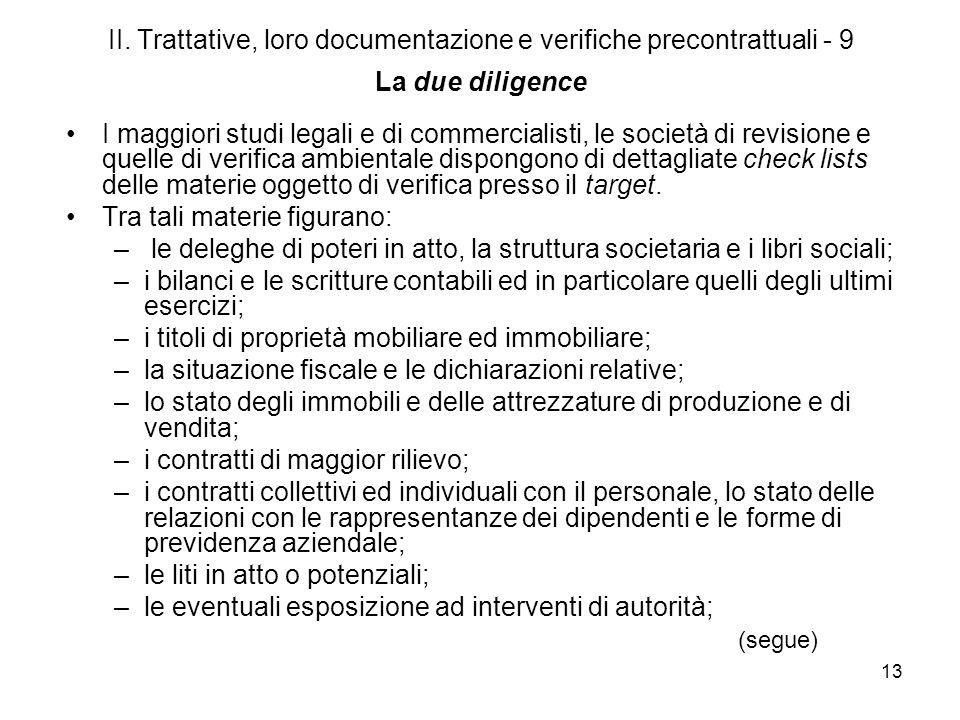 II. Trattative, loro documentazione e verifiche precontrattuali - 9 La due diligence