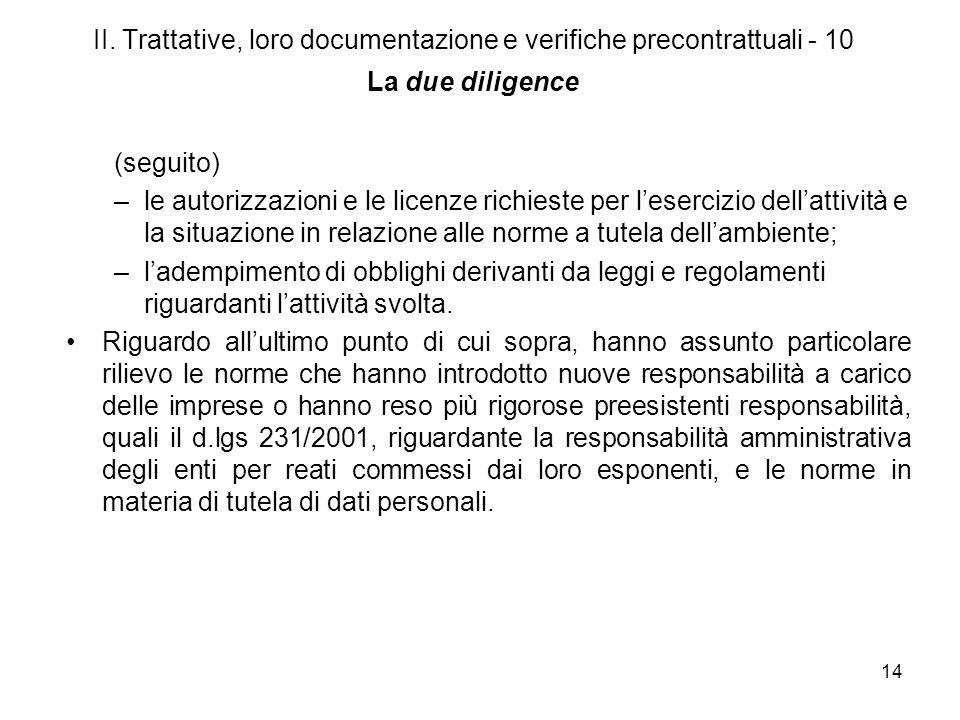II. Trattative, loro documentazione e verifiche precontrattuali - 10 La due diligence