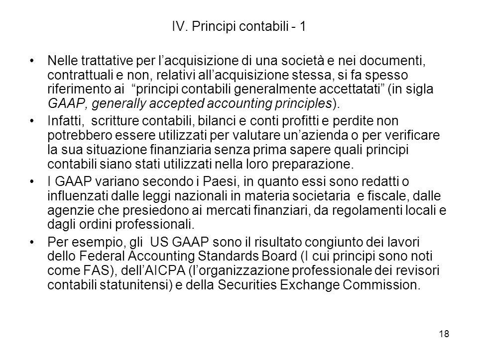 IV. Principi contabili - 1