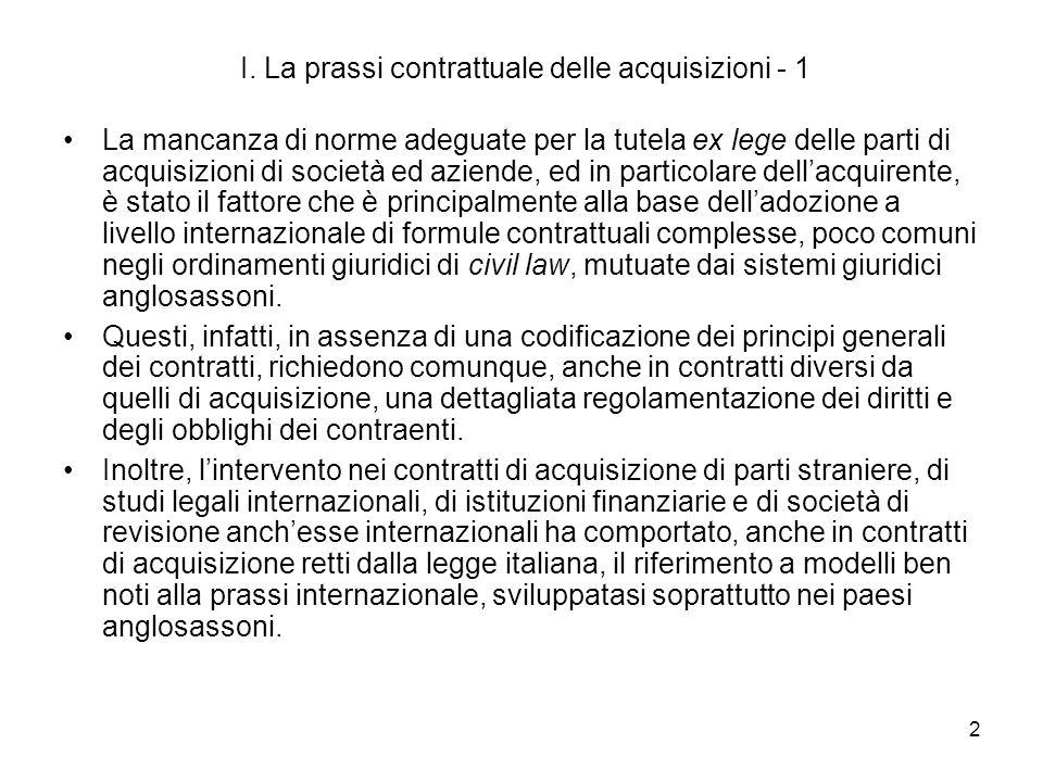 I. La prassi contrattuale delle acquisizioni - 1