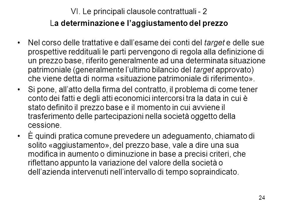 VI. Le principali clausole contrattuali - 2 La determinazione e l'aggiustamento del prezzo