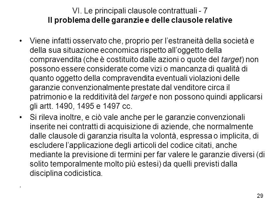 VI. Le principali clausole contrattuali - 7 Il problema delle garanzie e delle clausole relative