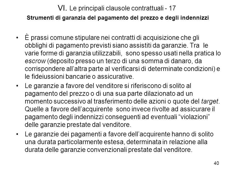 VI. Le principali clausole contrattuali - 17 Strumenti di garanzia del pagamento del prezzo e degli indennizzi