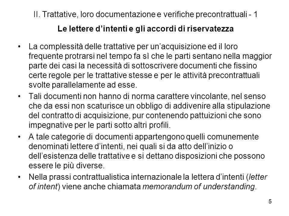 II. Trattative, loro documentazione e verifiche precontrattuali - 1 Le lettere d'intenti e gli accordi di riservatezza