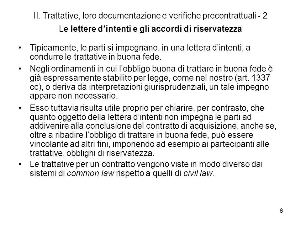 II. Trattative, loro documentazione e verifiche precontrattuali - 2 Le lettere d'intenti e gli accordi di riservatezza