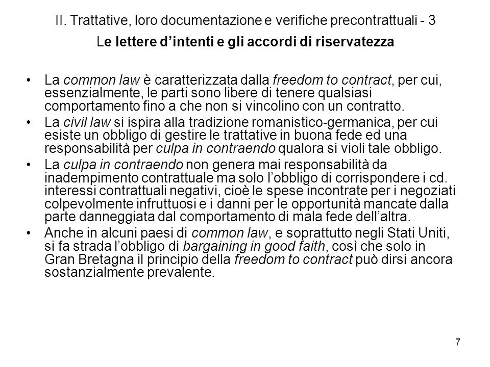 II. Trattative, loro documentazione e verifiche precontrattuali - 3 Le lettere d'intenti e gli accordi di riservatezza
