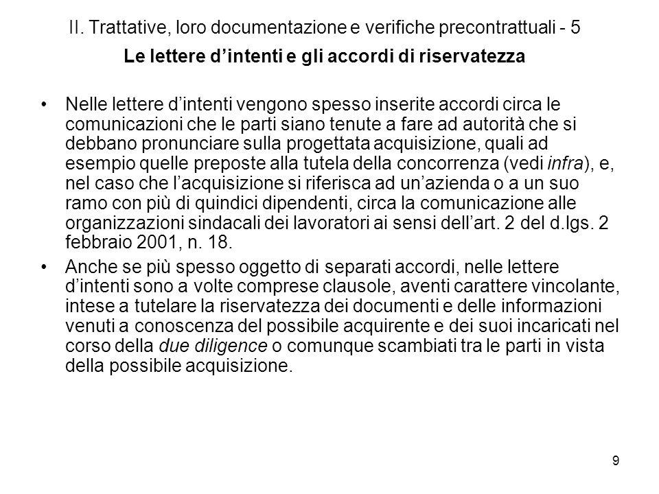 II. Trattative, loro documentazione e verifiche precontrattuali - 5 Le lettere d'intenti e gli accordi di riservatezza